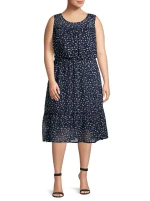 Abs By Allen Schwartz Plus Printed A-Line Dress In Blue White