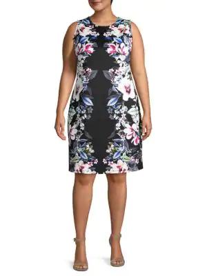 Abs By Allen Schwartz Plus Floral-Print Sheath Dress