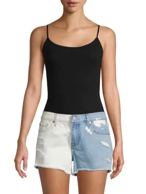 7 For All Mankind Distressed Denim Cut-Off Shorts In Cloud Sky