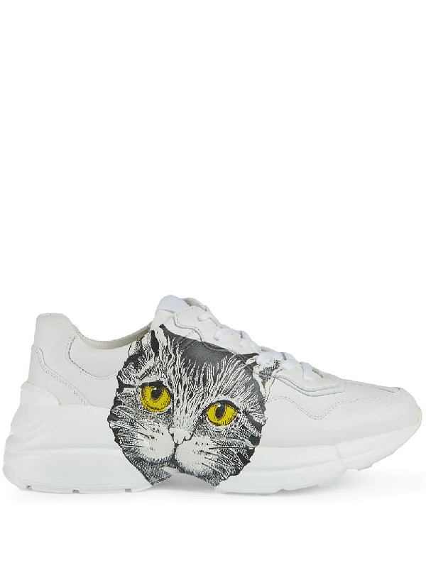 Gucci Women's Rhyton Sneaker With Mystic Cat In 9014 Bianco