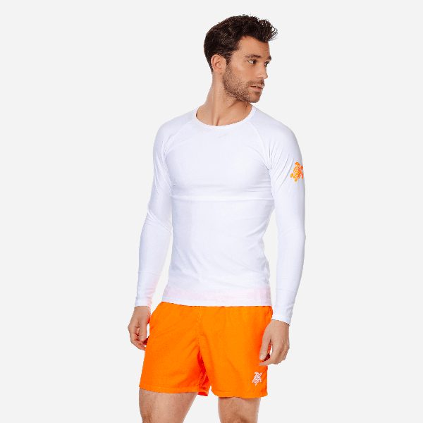 Vilebrequin Takeoff Long-sleeve Turtle-accented Rash Guard Tee In White