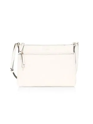 Kate Spade Medium Polly Leather Crossbody Bag In Parchment