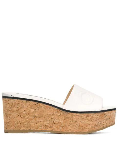 Jimmy Choo Deedee 80 Wedge Sandals In 白色