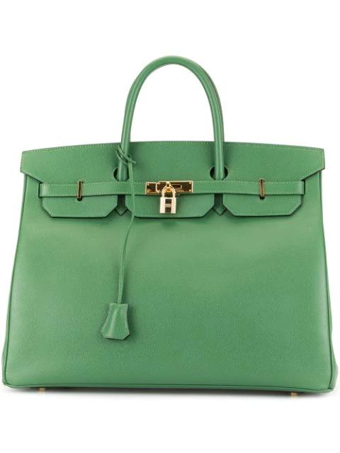 Pre-owned Hermes  Birkin 40 Bag In Green