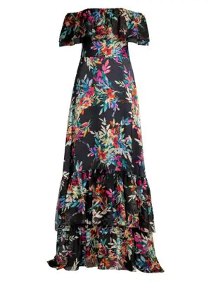 Shoshanna Women's Asilah Floral Off-the-shoulder Gown In Jet