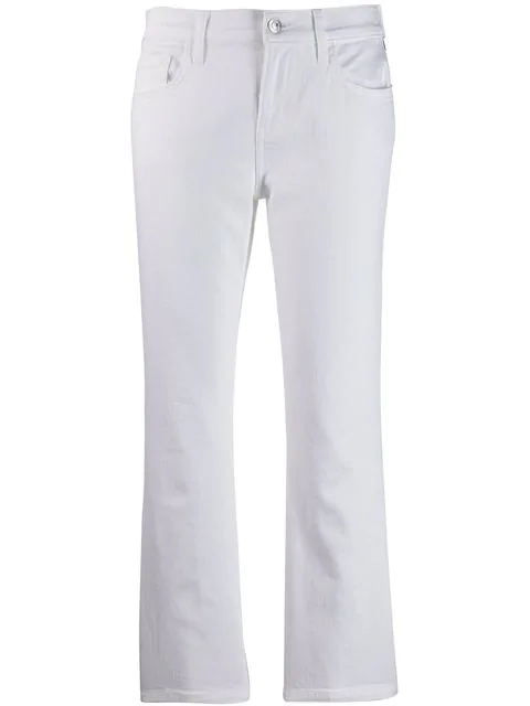 Current Elliott Cropped Flare Jeans In White