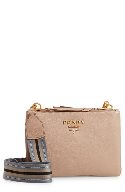 0fe1c661fdac Prada Vitello Daino Double Compartment Leather Crossbody Bag - Beige In  Cammeo