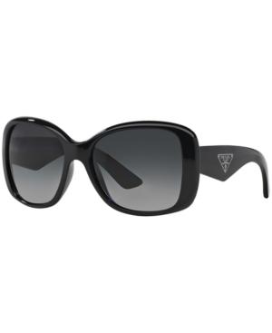 Prada 'Oversized Glam' 57Mm Polarized Sunglasses - Polarized Grey In Black/Grey Polar