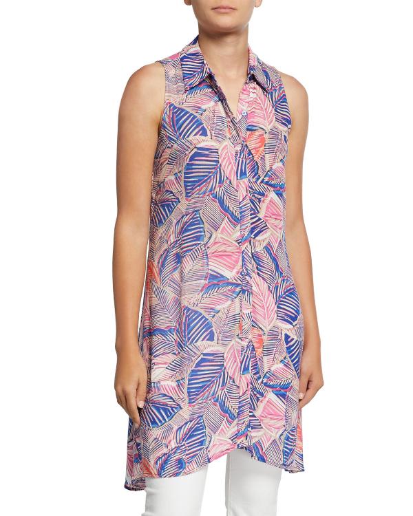 5a83eda9 Neiman Marcus Printed Sleeveless Button-Down Blouse In Multi | ModeSens