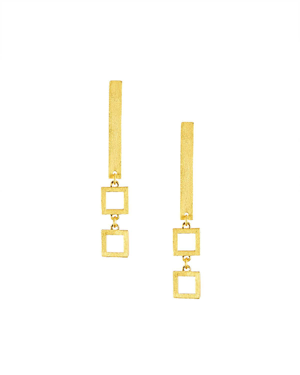 Stephanie Kantis Frame Square-link Drop Earrings In Gold