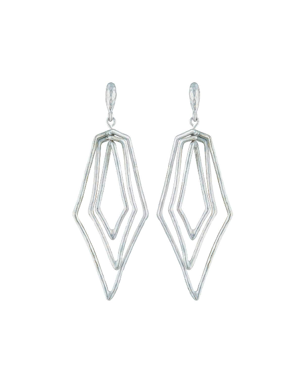 Stephanie Kantis Paris Triple Diamond Earrings In Silver