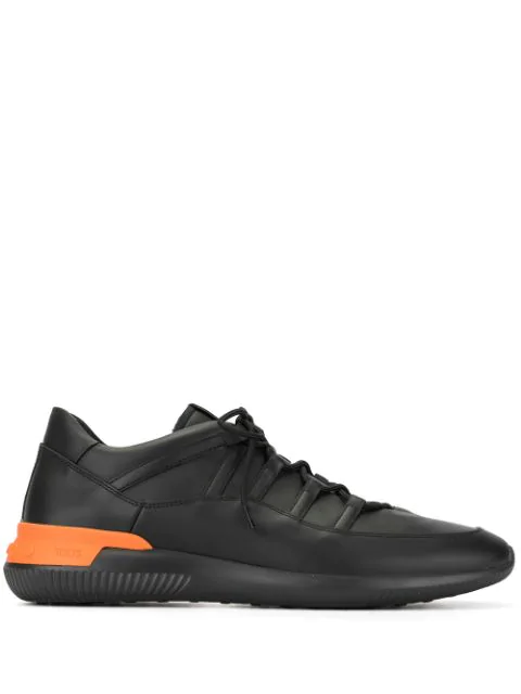 Tod's Black Sneakers In Leather And Scuba In 9998
