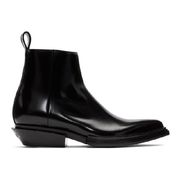 Balenciaga Men's Santiag Calfskin Short Boots In 1000 Black