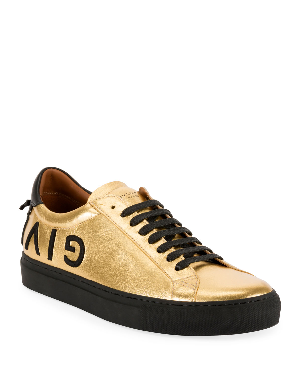 Givenchy Men's Metallic Leather Low-Top Sneakers, Gold