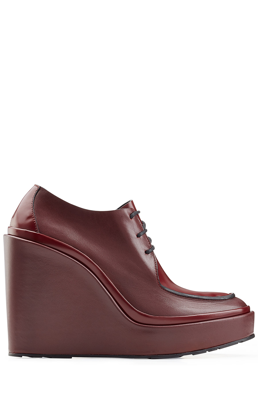 Jil Sander Platform Leather Derby Shoes In Red