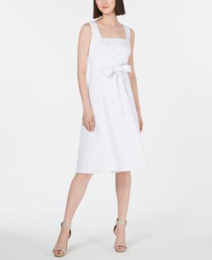 Calvin Klein Square-Neck Midi Dress In White