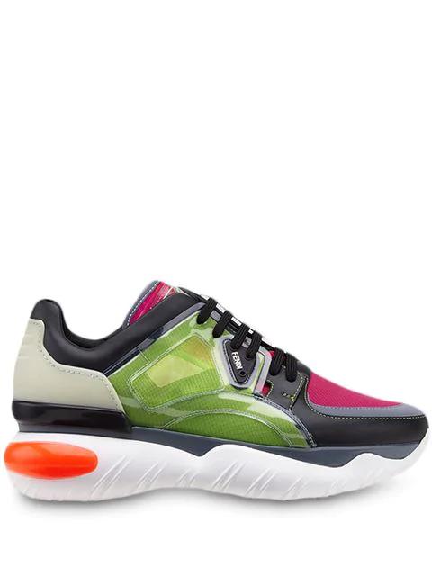 Fendi Transparent Running Low Top Sneakers In Black