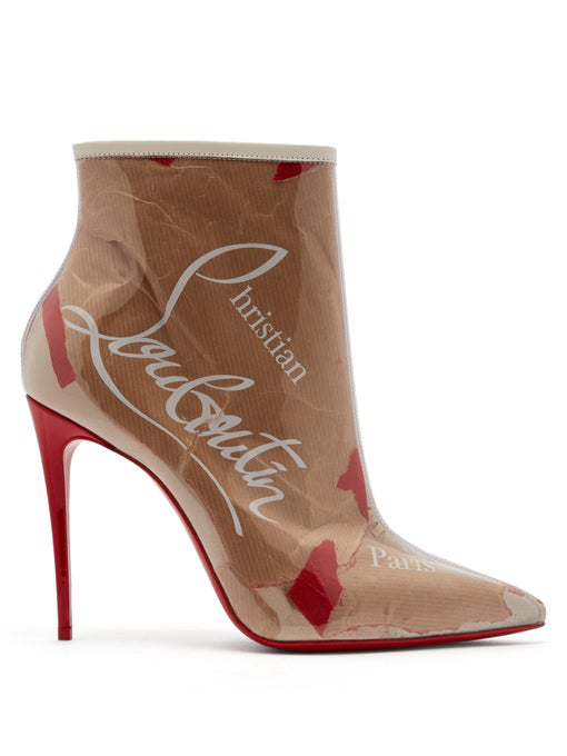 abd2f69a23f Christian Louboutin So Kate 100 Logo-Print Pvc Ankle Boots In Beige ...