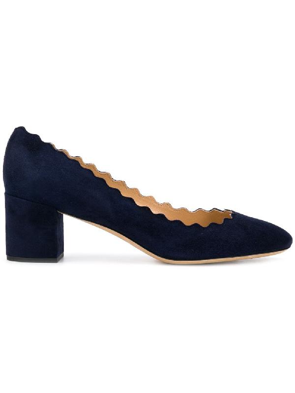 bff9e35595 ChloÉ Women's Lauren Scalloped Block-Heel Pumps In Navy | ModeSens