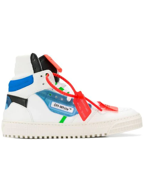 Off-White Off-Court Logo-Embellished Canvas And Leather High-Top Sneakers In White & Blue
