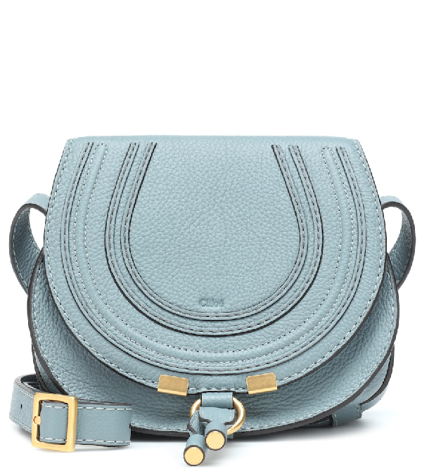 Chloé Marcie Small Leather Crossbody Bag In Blue