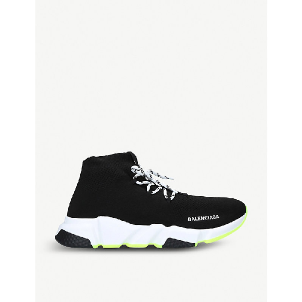 Balenciaga Speed Lace-Up Stretch-Knit Trainers In Black