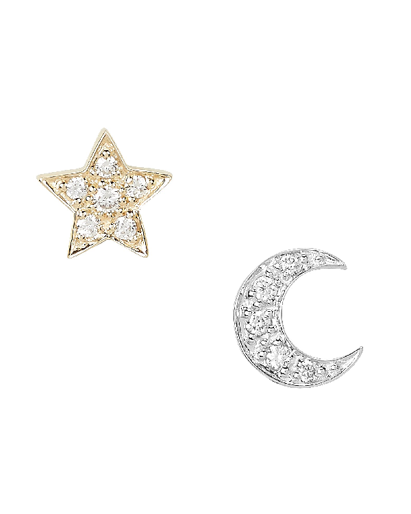 Sydney Evan Two-Tone Crescent Moon And Star Studs In Gold/Silver