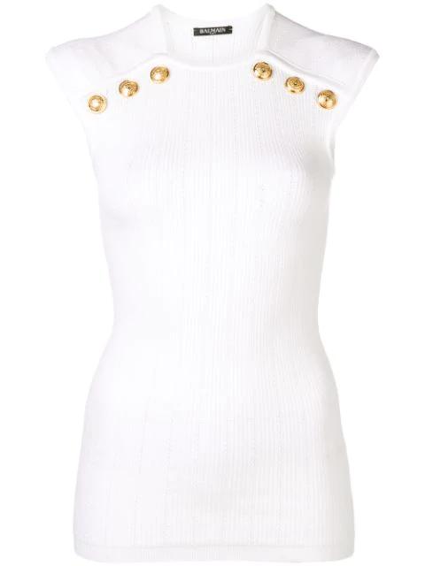 Balmain Shoulder Button Rib Knit Top In White