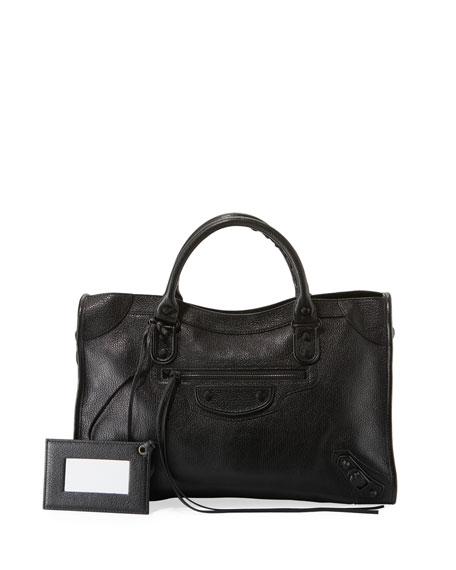 Balenciaga Classic City Aj Leather Tote - Black In Noir