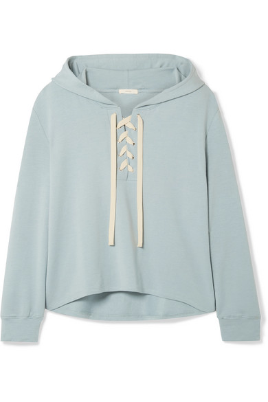 Eberjey Mason Lace-up Stretch-pima Cotton And Modal-blend Hoodie In Sky Blue