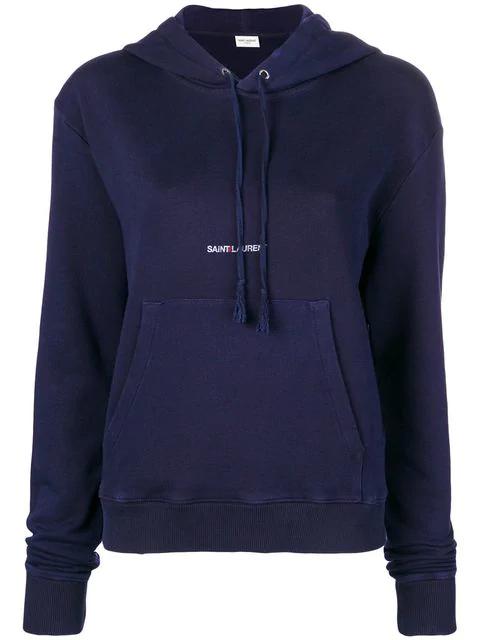 Saint Laurent Logo-Embroidered Cotton Hoodie Sweatshirt In Blue