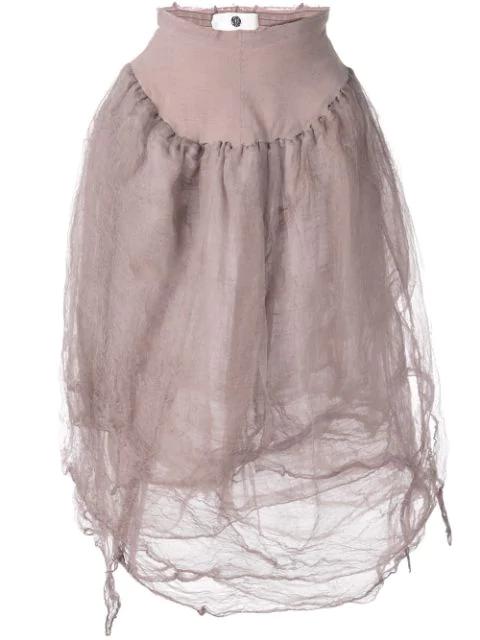 Marc Le Bihan Elasticated Waist Skirt In Purple
