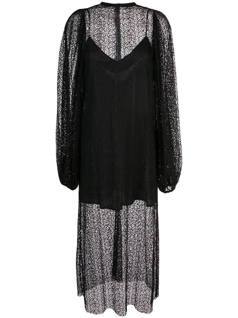 Beaufille Layered Crochet Midi Dress - Black