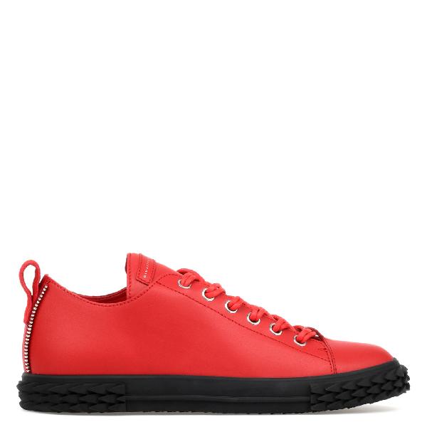 Giuseppe Zanotti Men's Blabber Low-Top Leather Sneakers, Red