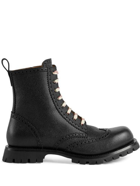 Gucci Men's New Arley Lace-Up Boots W/ Brogue Detailing In Black