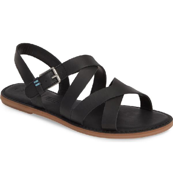Toms Women's Sicily Slingback Sandals In Black Leather