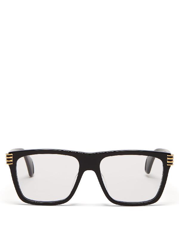 Gucci Oversized Square-frame Acetate Glasses In Black