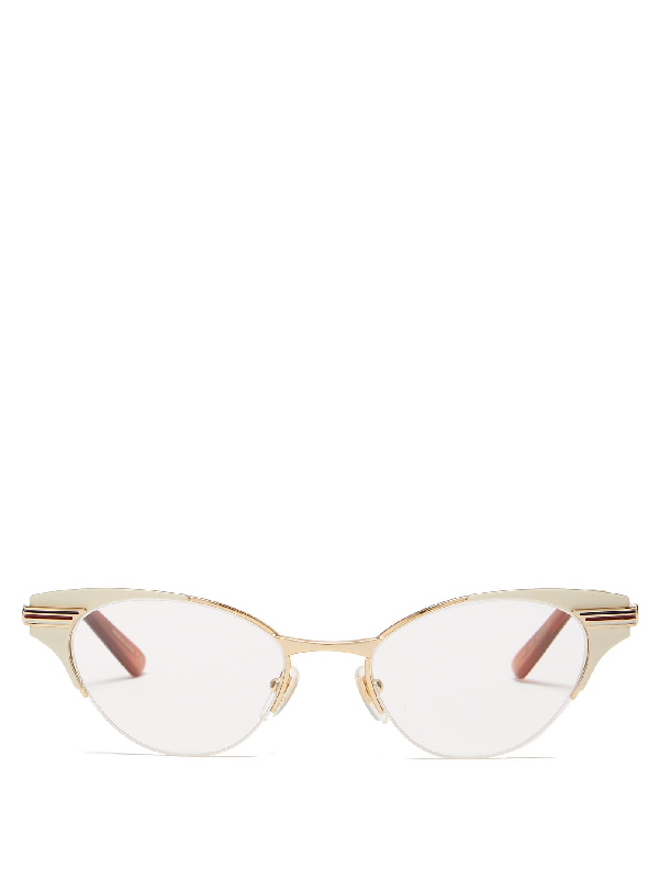 Gucci Cat-eye Metal Glasses In Ivory