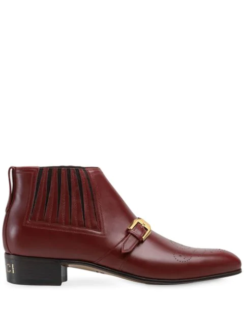 Gucci Men's Leather Ankle Boot With G Brogue In Red