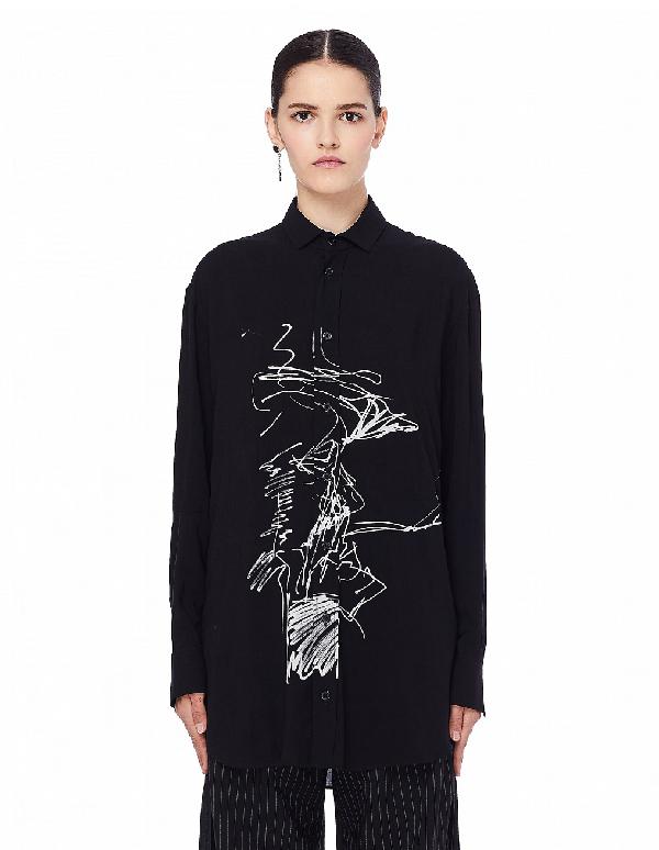 Yohji Yamamoto Black Printed Shirt
