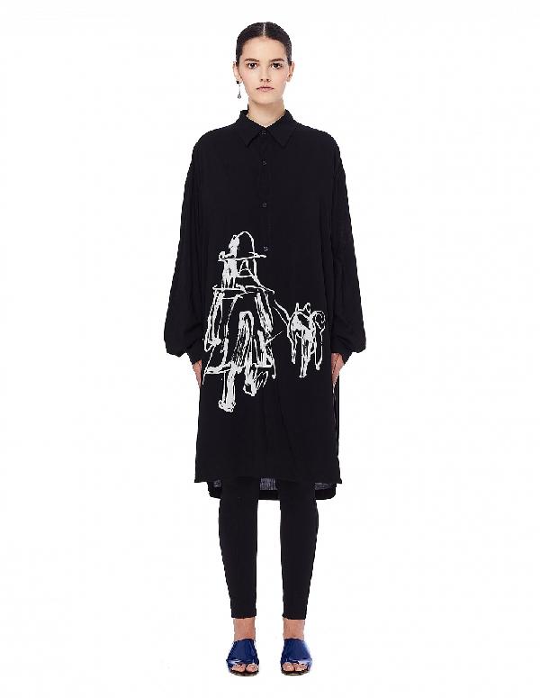 Yohji Yamamoto Black Printed Elongated Shirt
