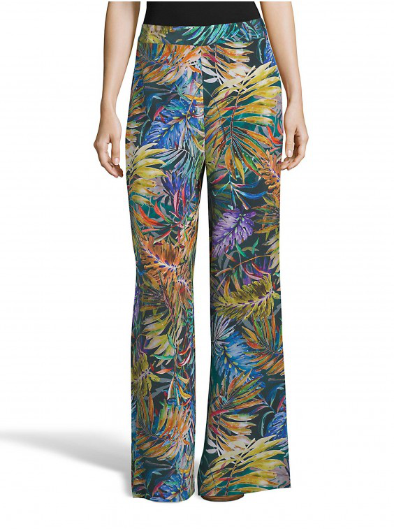 Robert Graham Women's Cora Green Tropical Silk Pants Size: 12 By  In Multicolor