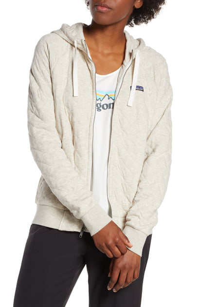 Patagonia Organic Cotton Blend Quilted Hoodie In Bcw Birch White