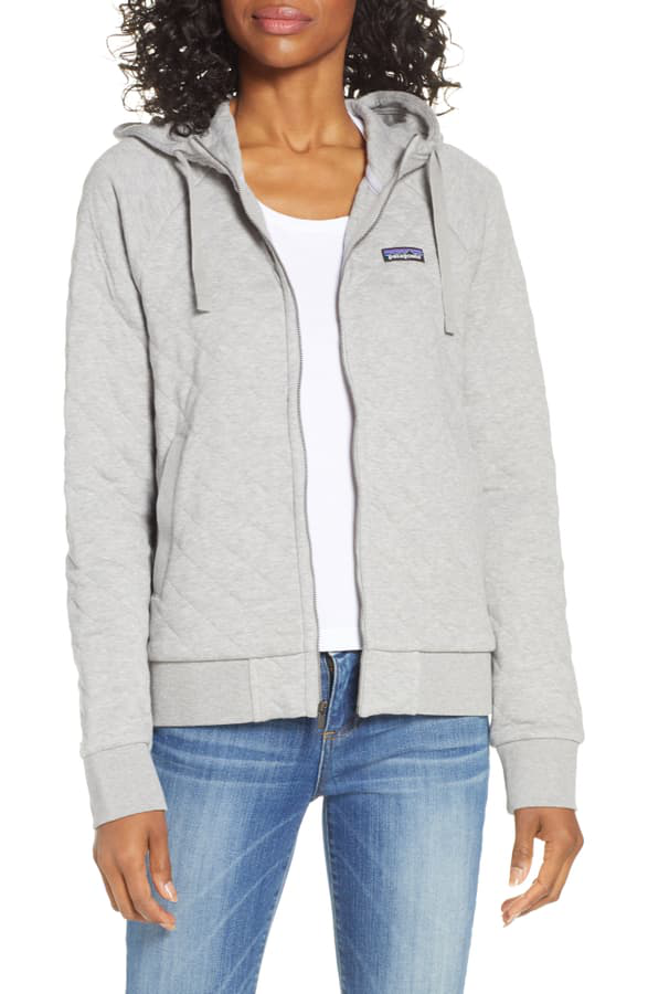 Patagonia Organic Cotton Blend Quilted Hoodie In Dftg Drifter Grey