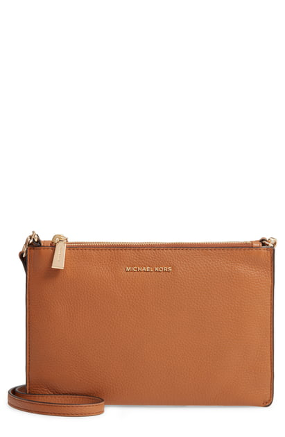 highly praised high quality materials new authentic Leather Double Pouch Crossbody Bag - Brown in Acorn