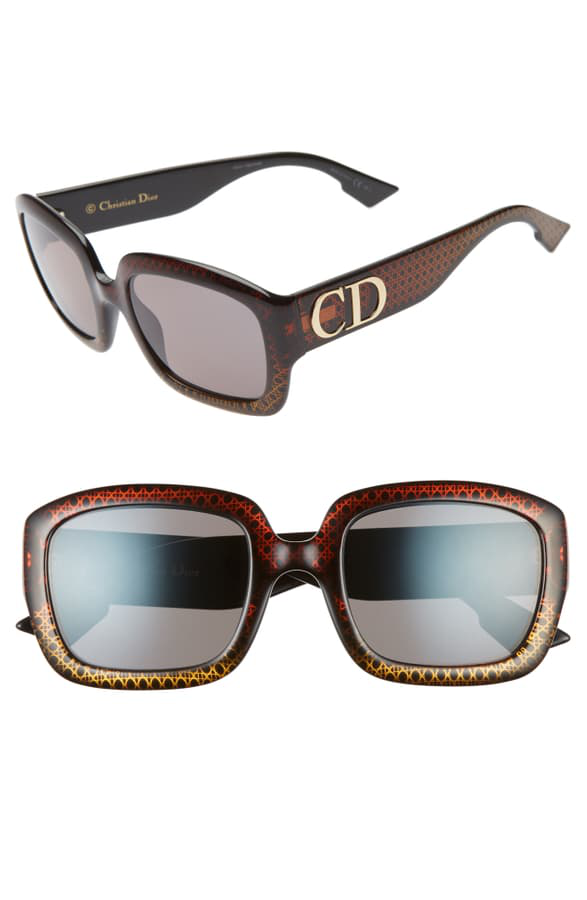 Dior Gradient Square Sunglasses, 54mm In Brown/ Gold/ Grey