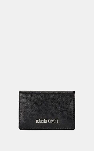 Roberto Cavalli Leather Folding Card Case - Black