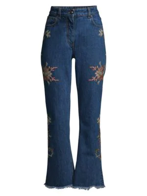 Etro Women's Floral Embroidered Bootcut Jeans In Light Blue
