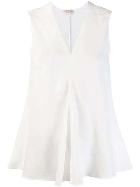 Blanca V-neck Top In White