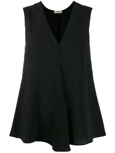 Blanca V-neck Tank Top In Black